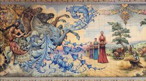 Mural azulejo Talavera de la Reina. Procesión de las Mondas.