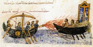 Batalla naval entre bizantinos y árabes. Skyllitzes matritensis - códice S.XI