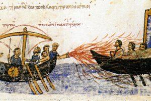 Batalla naval entre bizantinos y árabes. Skyllitzes matritensis – códice S.XI