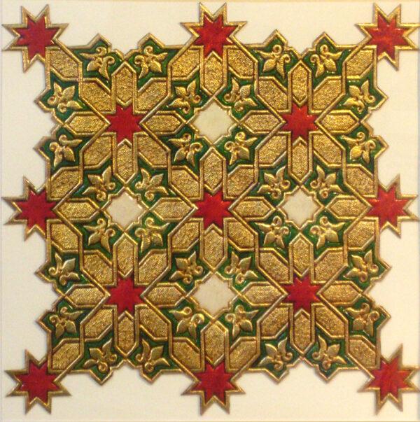 Guadamecí en cuero teñido de motivos califales: Lacería estrellas